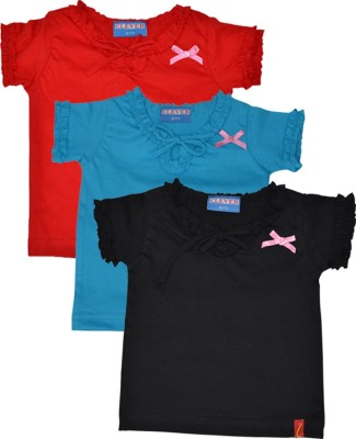 Clever Casual Short Sleeve Solid Girl's Black, Light Blue, Red Top