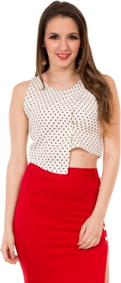 Showoff Casual Sleeveless Printed Women's White Top