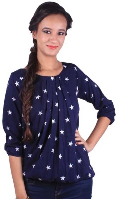 Shreewow Casual 3/4 Sleeve Printed Girl's Blue Top
