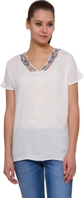 Amari By Inmark Casual Short Sleeve Solid Women's White Top