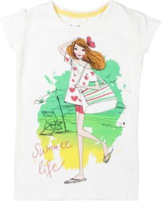 Gini & Jony Casual Cape Sleeve Printed Girl's White Top