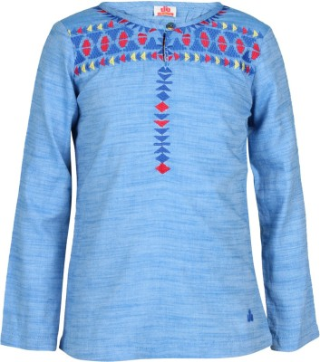UFO Casual Full Sleeve Embroidered Girl's Blue Top