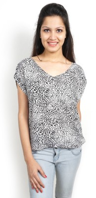 Bay & Blue Casual Cape Sleeve Printed Women's Silver, Black Top