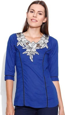 Shopaholic Casual 3/4 Sleeve Solid Women's Blue Top