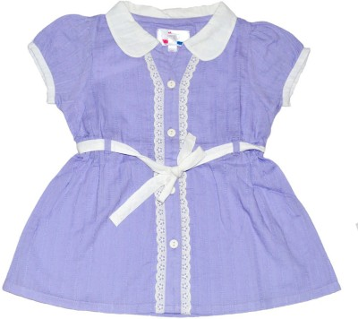 Young Birds Casual, Festive Short Sleeve Solid Girl's Purple Top