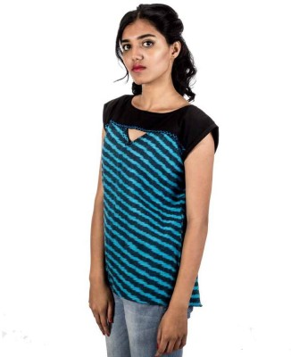 HastaVarna Studio Casual, Lounge Wear, Party Cap sleeve Self Design Women's Blue Top