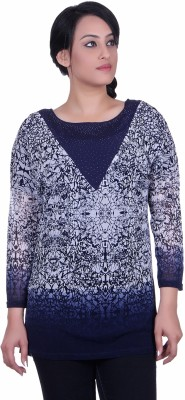 Sellsy Casual 3/4 Sleeve Graphic Print Women's Blue Top