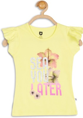 612 League Casual Puff Sleeve Printed Girl's Yellow Top
