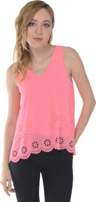 Trend Notes Casual Sleeveless Solid Women's Pink Top