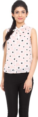 Label VR Casual Sleeveless Printed Women's Pink Top