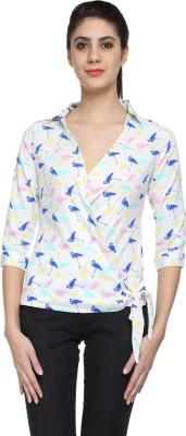 Niriksha Formal Roll-up Sleeve Self Design Women's White Top