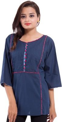 Avon Apparels Casual 3/4 Sleeve Printed Women's Blue Top