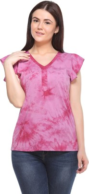 MOD PLUSS Casual Short Sleeve Printed Women's Pink Top