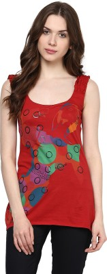 Chlorophile Casual Sleeveless Printed Women's Red Top