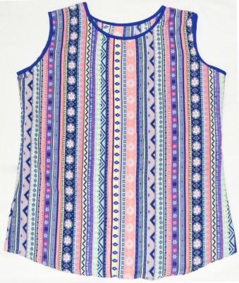Eleganceranuka Casual Sleeveless Striped Girl's Multicolor Top