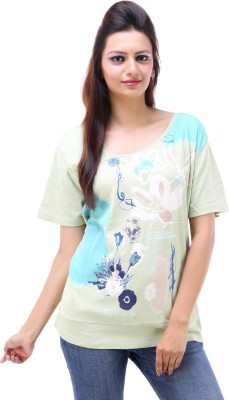 Avon Apparels Casual Short Sleeve Floral Print Women's White Top