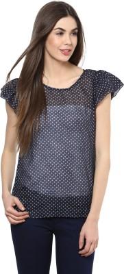 La Zoire Casual Short Sleeve Floral Print Women's Dark Blue Top