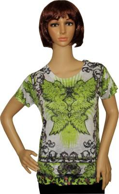 Sarva Party, Casual, Formal Short Sleeve Printed Women's Dark Green Top