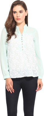 Instacrush Casual Full Sleeve Embroidered Women,s Green Top