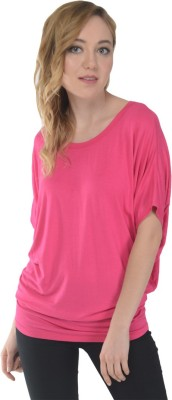 Trend Notes Casual Short Sleeve Solid Women's Pink Top