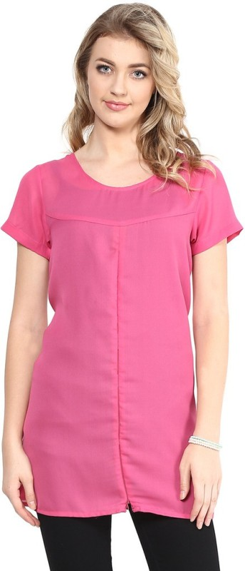 Mine4Nine Casual Cap Sleeve Solid Women's Pink Top