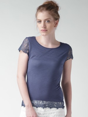 Mast & Harbour Casual Cap sleeve Solid Women's Blue Top