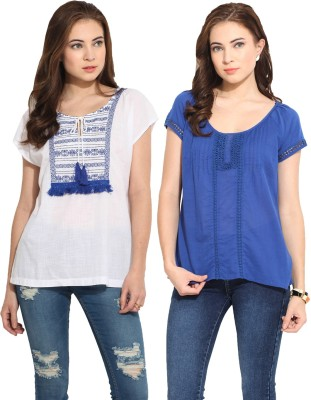 Free & Young Casual Full Sleeve Solid Women's White, Blue Top