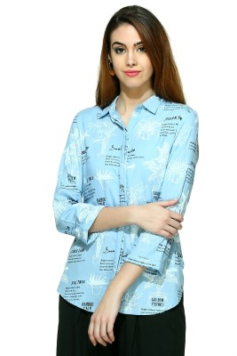 W Casual 3/4 Sleeve Printed Women's Blue Top