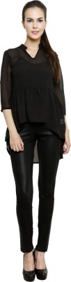I Am For You Casual 3/4 Sleeve Embellished Women's Black Top