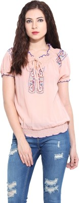 Paprika Casual Short Sleeve Solid Women,s Pink Top