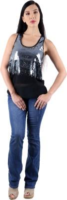 Vama Party Sleeveless Woven, Printed Women's Black Top