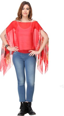 We Desi Party Butterfly Sleeve Printed Women's Red Top