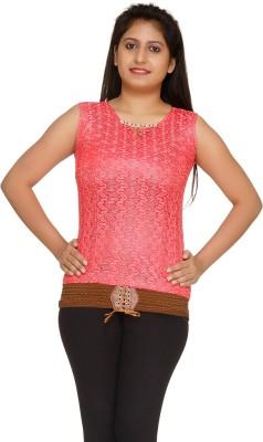 Uzee Casual Sleeveless Printed Women's Pink Top