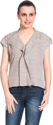 Rute Formal Short Sleeve Printed Womens Brown Top