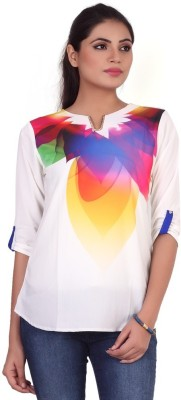 Pink Nine Casual 3/4 Sleeve Graphic Print, Embellished Women's White, Blue Top