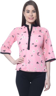 Ritzzy Casual 3/4 Sleeve Printed Women's Pink Top
