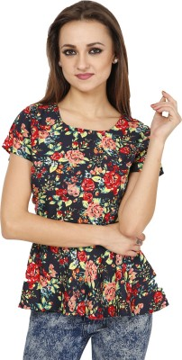 Famous by Payal Kapoor Casual Short Sleeve Printed Women's Multicolor Top
