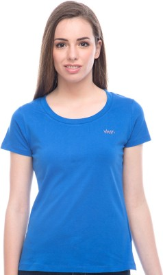 Virsa Casual Short Sleeve Solid Women,s Blue Top