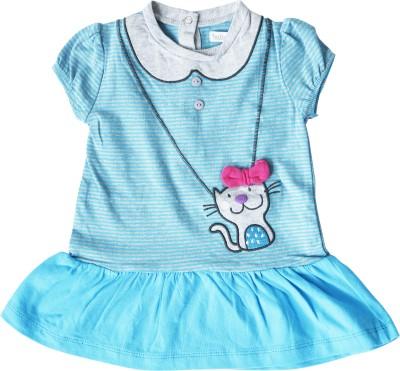 Milou Casual Short Sleeve Self Design Baby Girl's Light Blue Top