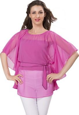 Ishindesignerstudio Party Short Sleeve Solid Women's Pink Top