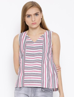 Vaak Casual Sleeveless Striped Women's Multicolor Top