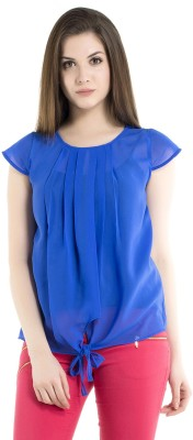 Kazo Casual Cap Sleeve Solid Women's Blue Top