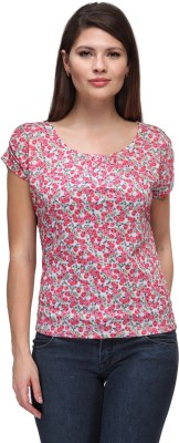 FW Collection Casual Short Sleeve Floral Print Women's Pink Top