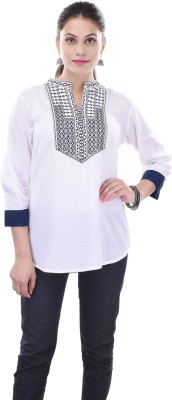 Artisan Creation Casual 3/4 Sleeve Solid Women's White Top