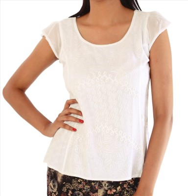 Skirts & Scarves Casual, Beach Wear Cap sleeve Embroidered Women's White Top