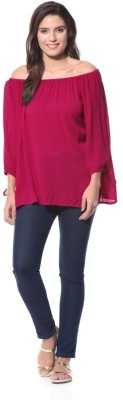 XNIVA Casual 3/4 Sleeve Solid Women's Pink Top