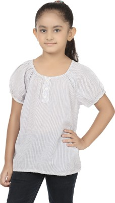 Eves Pret A Porter Casual Short Sleeve Striped Girl's White, Blue Top