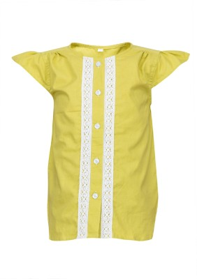 Buttercups Casual Short Sleeve Embroidered Girl's Yellow Top
