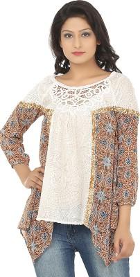 Adhaans Casual 3/4 Sleeve Self Design Women's Beige, Orange Top
