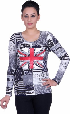 Sellsy Casual Full Sleeve Graphic Print Women's Grey Top